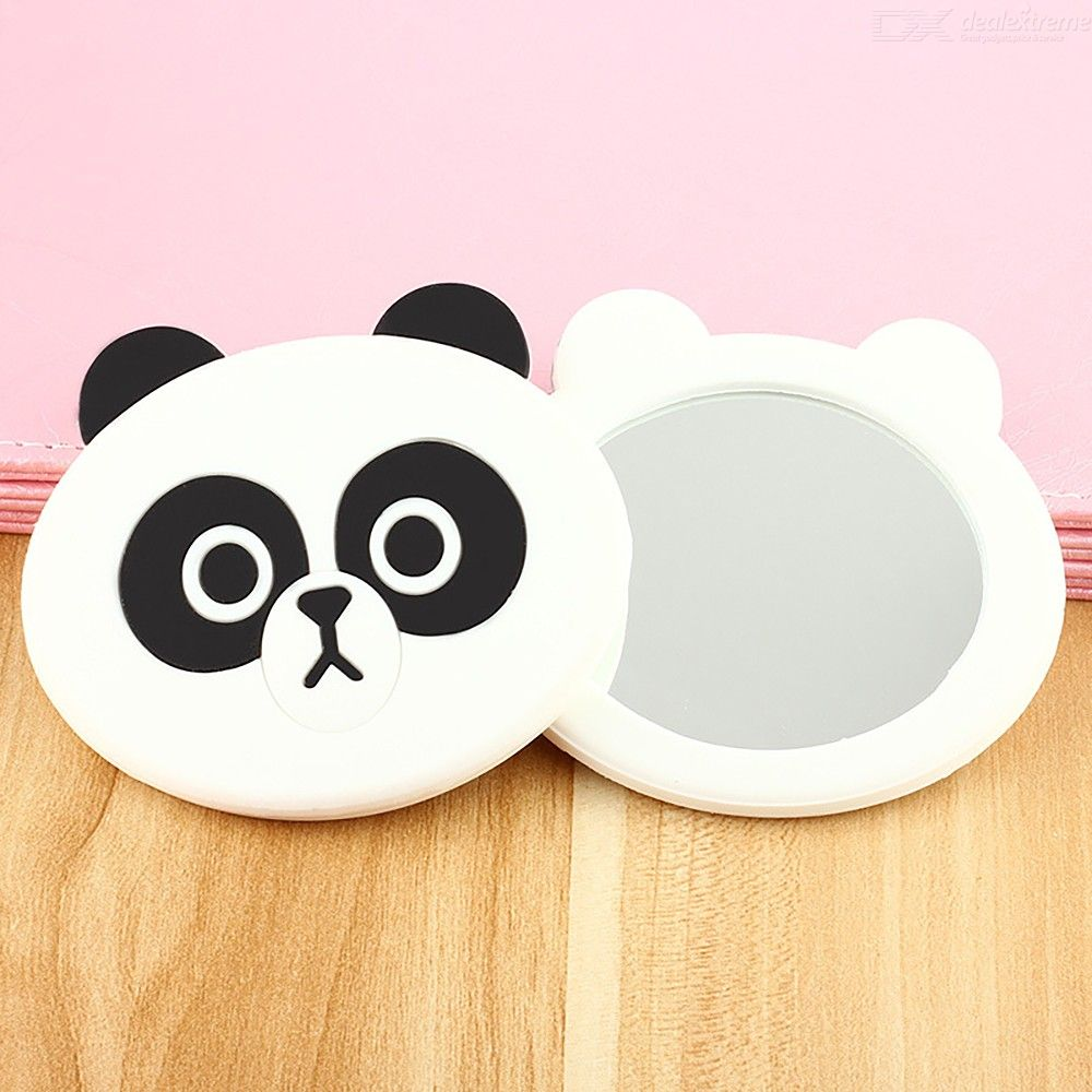 Handheld Mini Cartoon Makeup Mirror Cute Single-Sided Silicone Cosmetic Mirrors For Women Girls