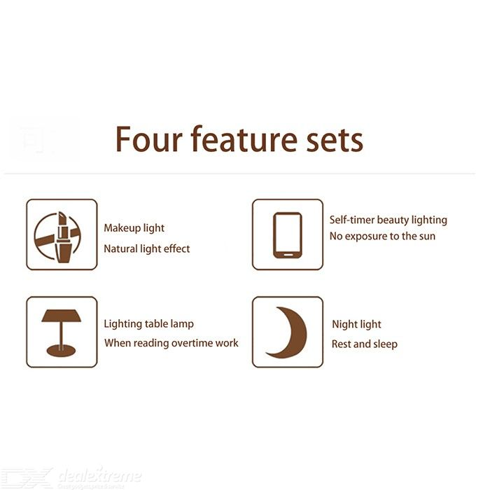 Folding LED Makeup Mirror Double Side Lights 1X 10X Magnification Ring Vanity Mirror Rotatable USB/Battery Powered 6.1 Inch