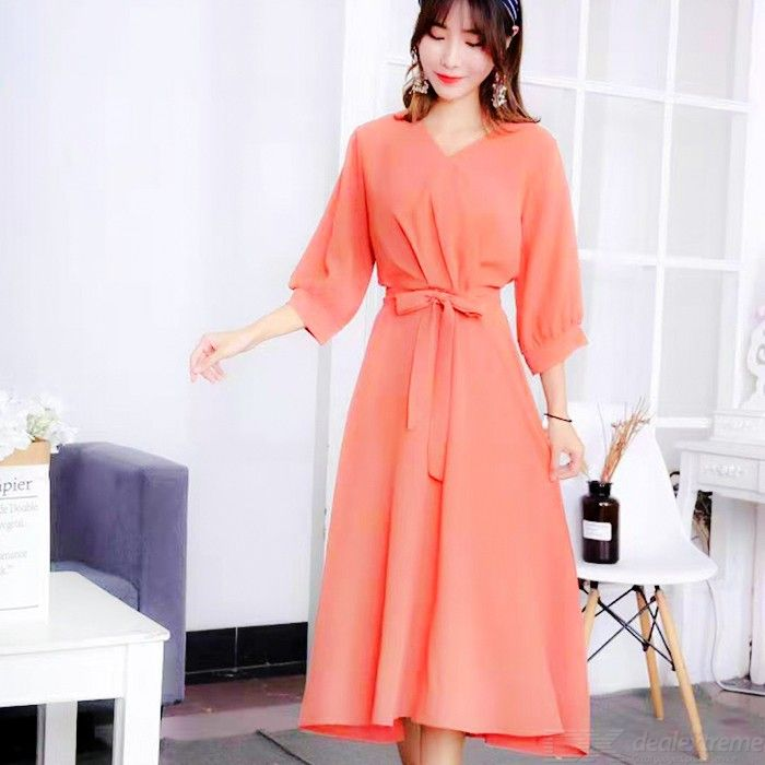 Casual V-Neck Midi Dress Summer Solid A-Line Dresses For Women