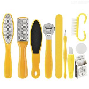 10 In 1 Foot Scrubber Professional Pedicure Tools Kit Rasp Foot File Callu Remover Set Feet Exfoliating Scrubber Cleaner