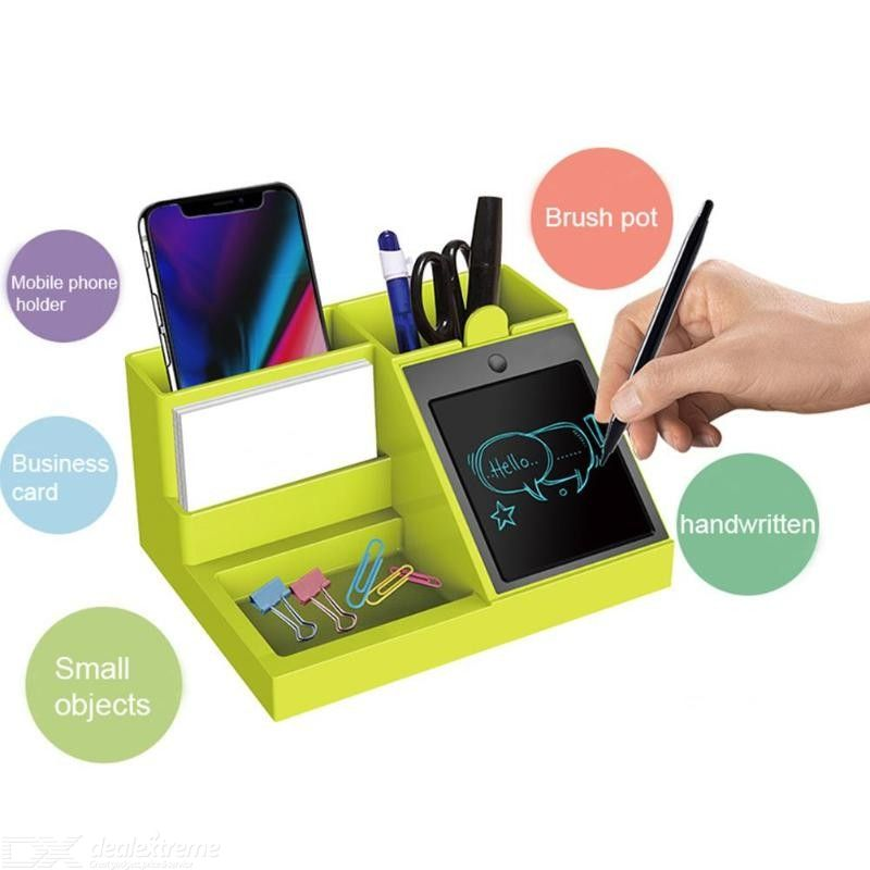 Desk Supplies Organizer Caddy 2-in-1 Pen Stand With LCD Memo Board