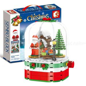 Building Blocks Educational Toy With 249 Blocks Christmas Rotating Light-up Cabin Ornament Christmas Gift For Boys Girls