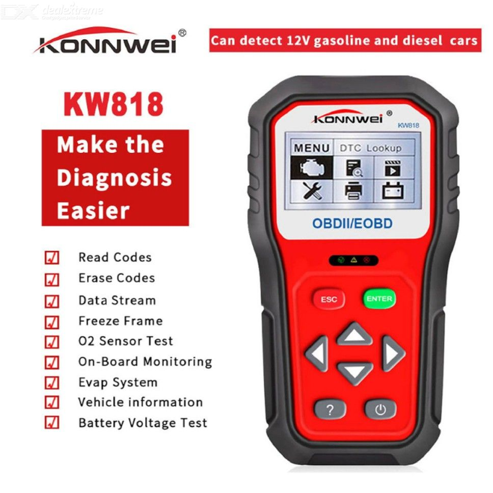 KONNWEI KW818 Car OBDII ODB2 EOBD Scanner Battery Tester Diagnostic Tool