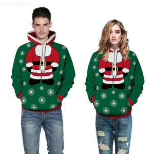 Unisex Realistic 3D Printed Hoodies Casual Christmas Pullover Sweatershirt For Men Women