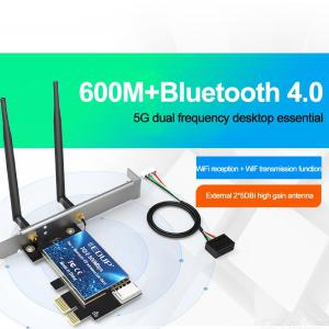 Gigabit PCI Express Network Adapter PCIE Network Card 600Mbps 2.4Ghz 5Ghz Dual Band Bluetooth 4.0 WiFi Card For Desktop PC