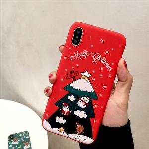 Christmas Tree Deer Pattern Soft Silicone Case Anti-Scratch Protective Cover For IPhone 6/ 7/ 8/ 8Plus/ XS/ XR/ XS Max/ 11