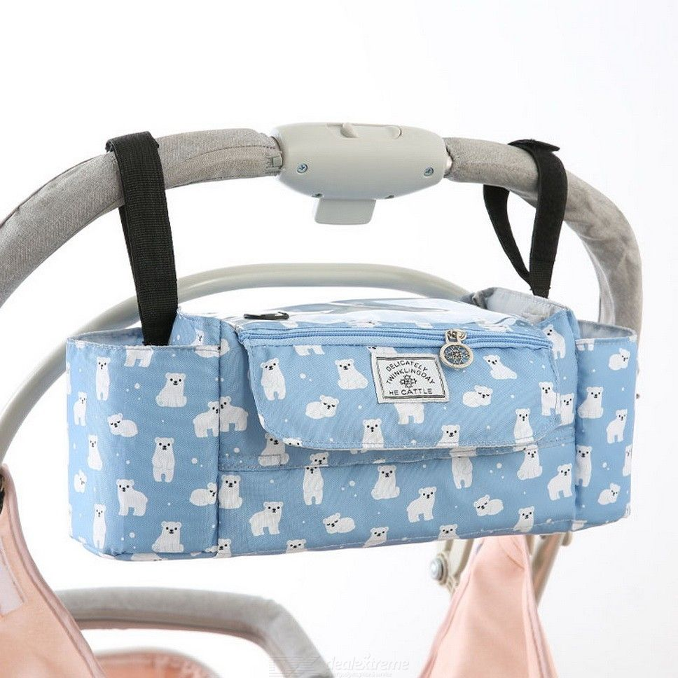 Baby Stroller Organizer Large Capacity Hanging Bag With Cup Holder