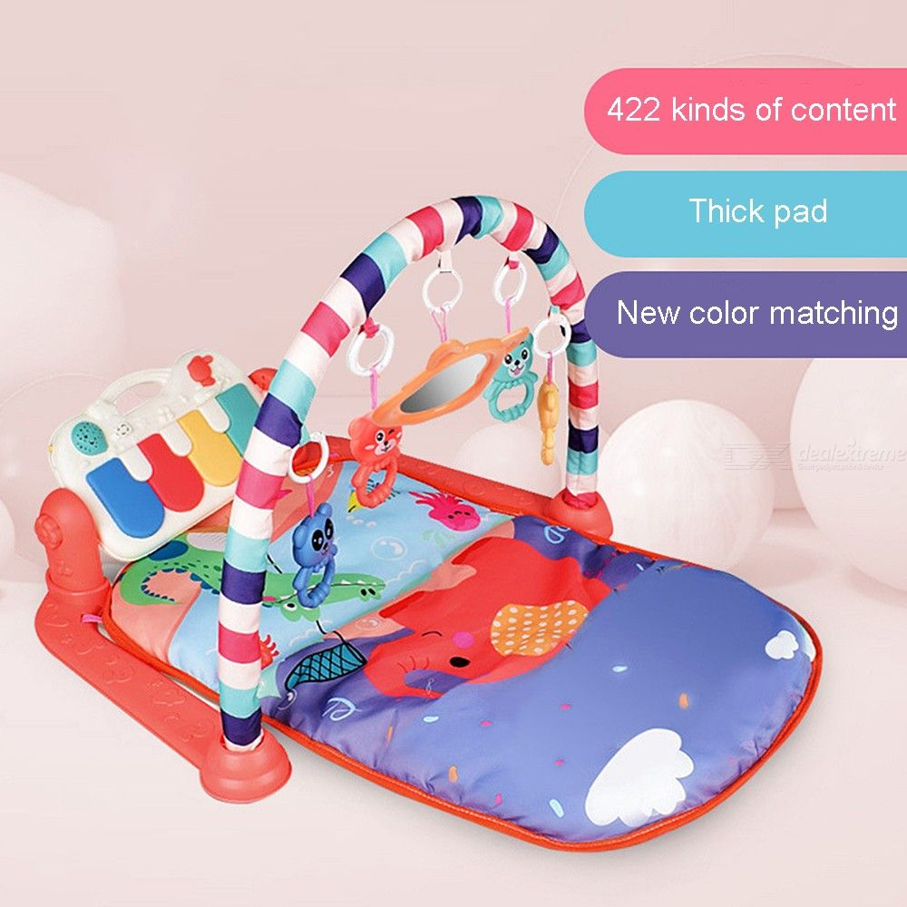 Thickened Baby Playmat Kick And Play Piano Gym, 5 Toys And Musical Activity Baby Gym