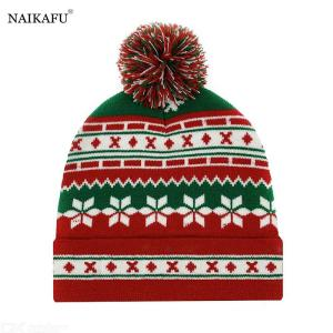 Unisex Christmas Beanie Hat Cuffed Ugly Sweater Knit Red Green Beanies