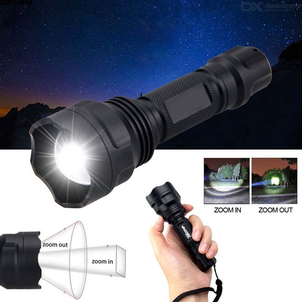 C8 1-Mode Zoomable LED Hunting Flashlight, White Light Tactical 18650 Flashlight for Outdoor