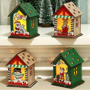 Luminous Wood House Christmas Ornaments DIY Festival Holiday Decorations Gifts With LED Light For Children