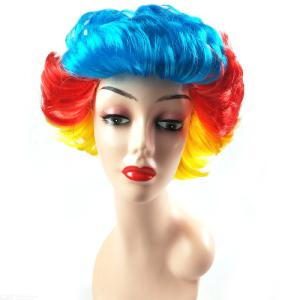 Womens Colorful Short Cosplay Wig Fluffy Party Synthetic Wig Performance Props