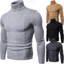 Mens Casual Long Sleeve Sweater Solid Color Turtleneck Knits