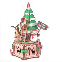 3D Wooden DIY Puzzle With Music Box Christmas Gift For Children Kids