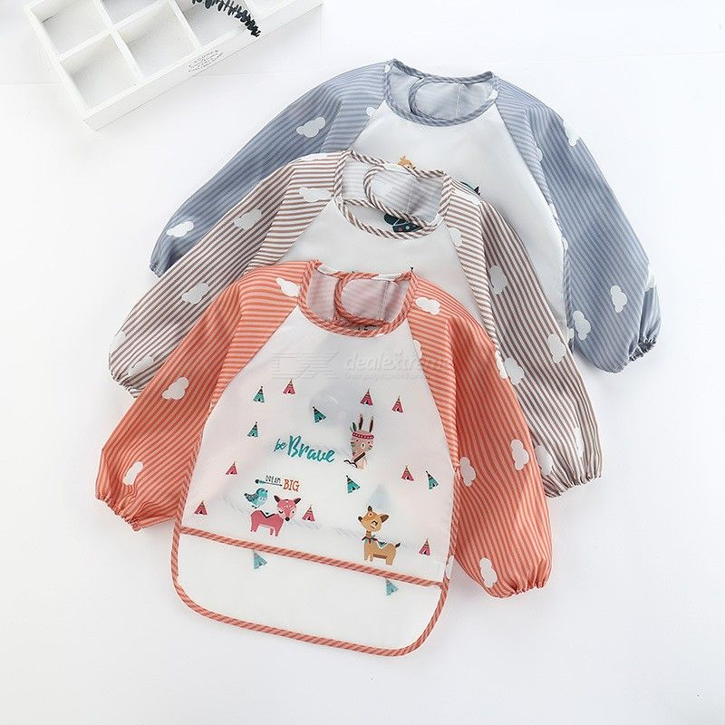 Baby Bibs Waterproof Long Sleeved Eating Painting Apron Bib For Baby Boys Girls Toddlers Aged 1-3