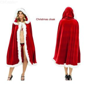 Women Merry Christmas Mrs Santa Claus Red Cloak Costume Cappa Cloak Cape For Kids Adults