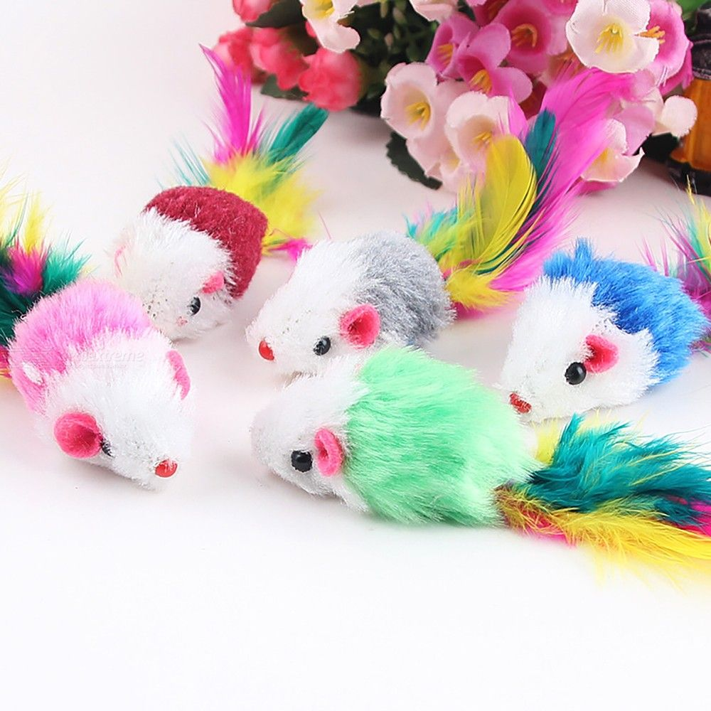 Kitten Cat Pet Toys Cute Small Mouse Plush Simulation Mice Toy With Feather Tail - Random Color