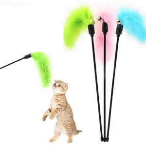 Cat Feather Teaser Interactive Cat Feather Toys With Bell Long Feather Short Stick
