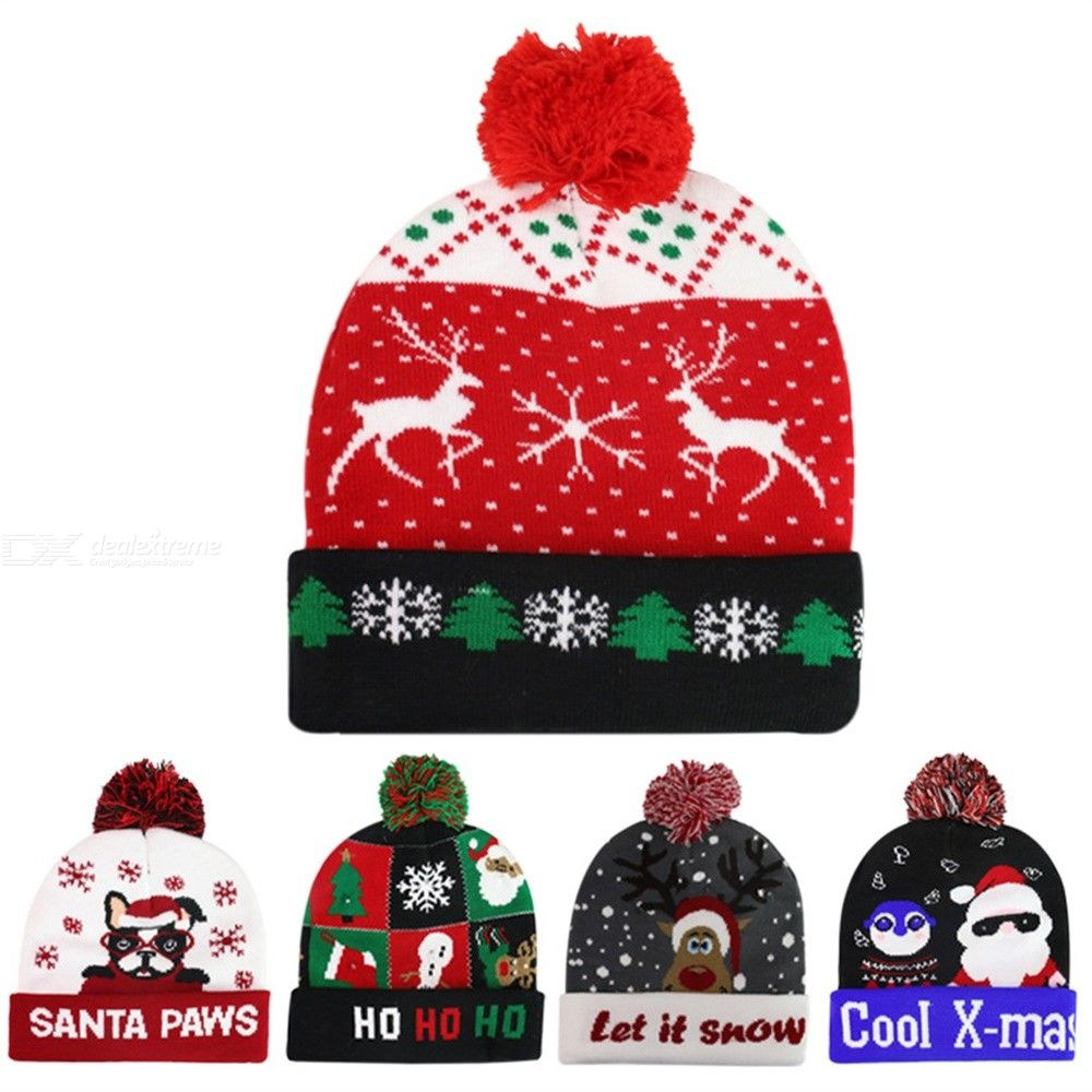 LED Light Up Knitted Beanie Hat Christmas Cap For Men Women Gift Christmas