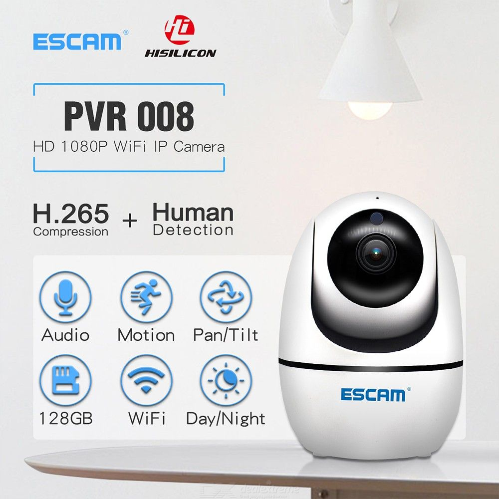 ESCAM PVR008 H.265 1080P Pan/Tilt WiFi IR IP Camera, Support ONVIF Two Way Talk Night Vision