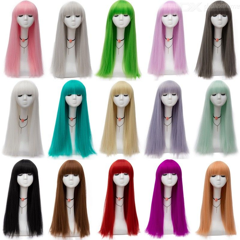 Straight | Party | Color | Women | Bang | Prop | Flat | Long | Wig