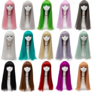 Womens Long Straight Wig With Flat Bangs 14 Colors Available Realistic Party Cosplay Perfomance Props