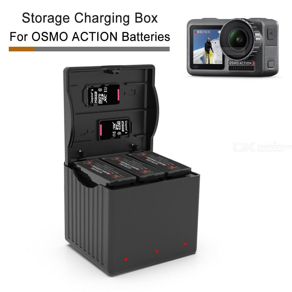 3-in-1 Lithium Battery Charger Storage Box with TF-Card Reader For DJI OSMO Action Camera