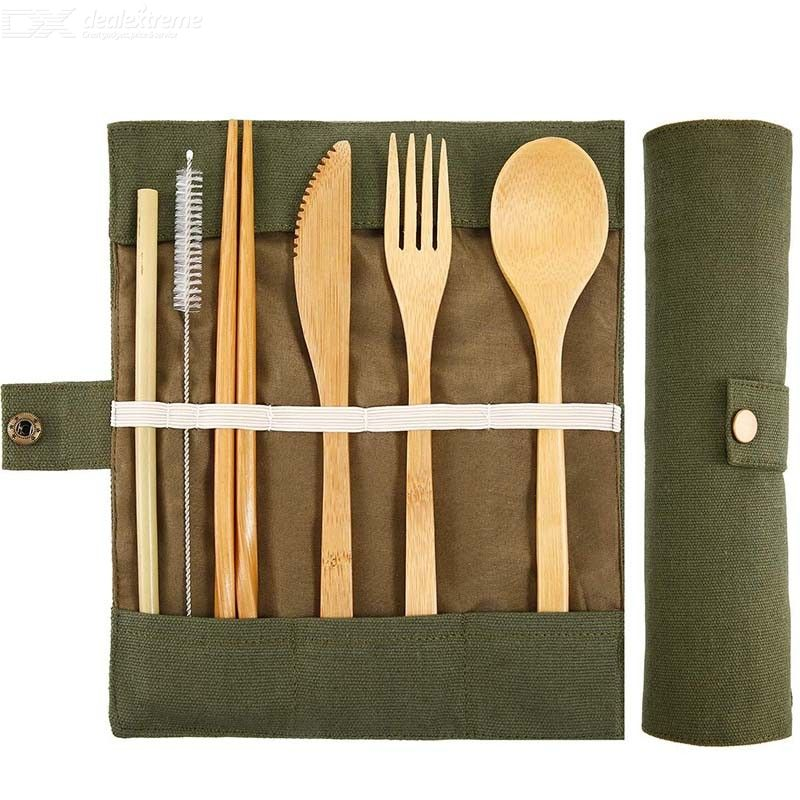 7Pcs/Set Portable Spoon Fork Chopsticks Tableware Bamboo Cutlery Suit For Camping Travel