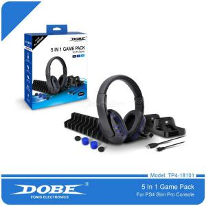 DOBE PS4 5 In 1 Accessories Sets With Headset / Charger Cable / Gamepad / Organizer / Charger For PS4 Slim / PS4 Pro