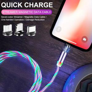 3-in-1 2m Lightning/Type-c/Micro USB Magnetic Charging Cable for Mobile Phone