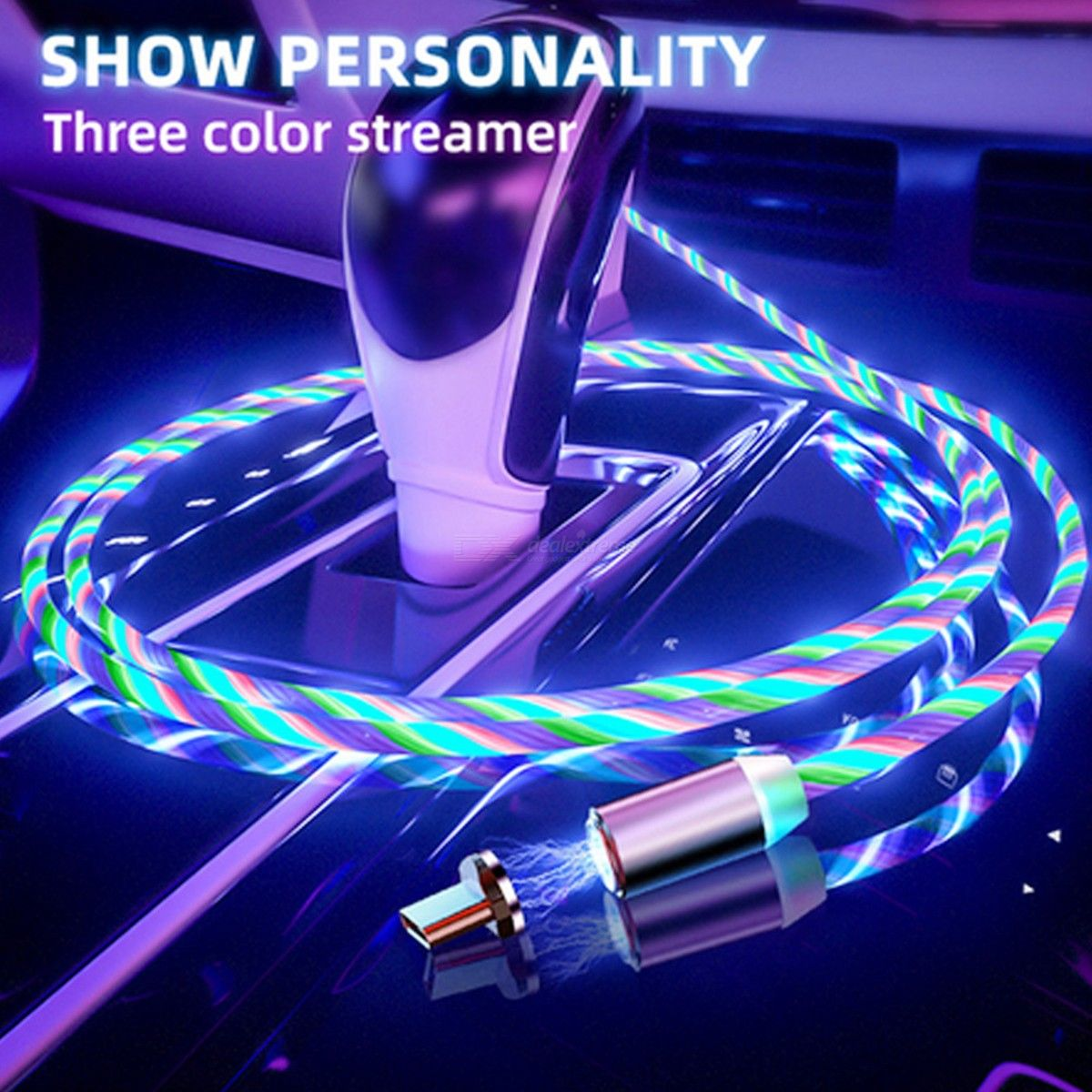 2m Type-c Magnetic Charging Cable with LED Light for Mobile Phone