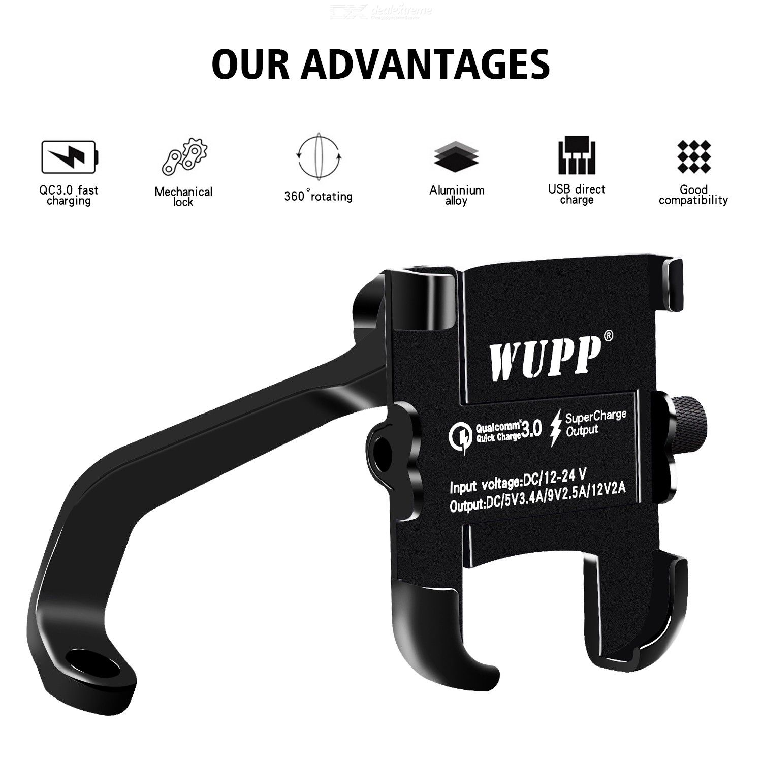 Motorcycle Phone Mount Charger Universal Waterproof Motorbike Cellphone Holder Charger Pad