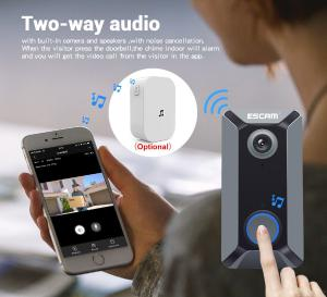 ESCAM V6 Wireless Doorbell 720P Wide-angle Video Camera Waterproof Home Security Bell Support Phone APP Push