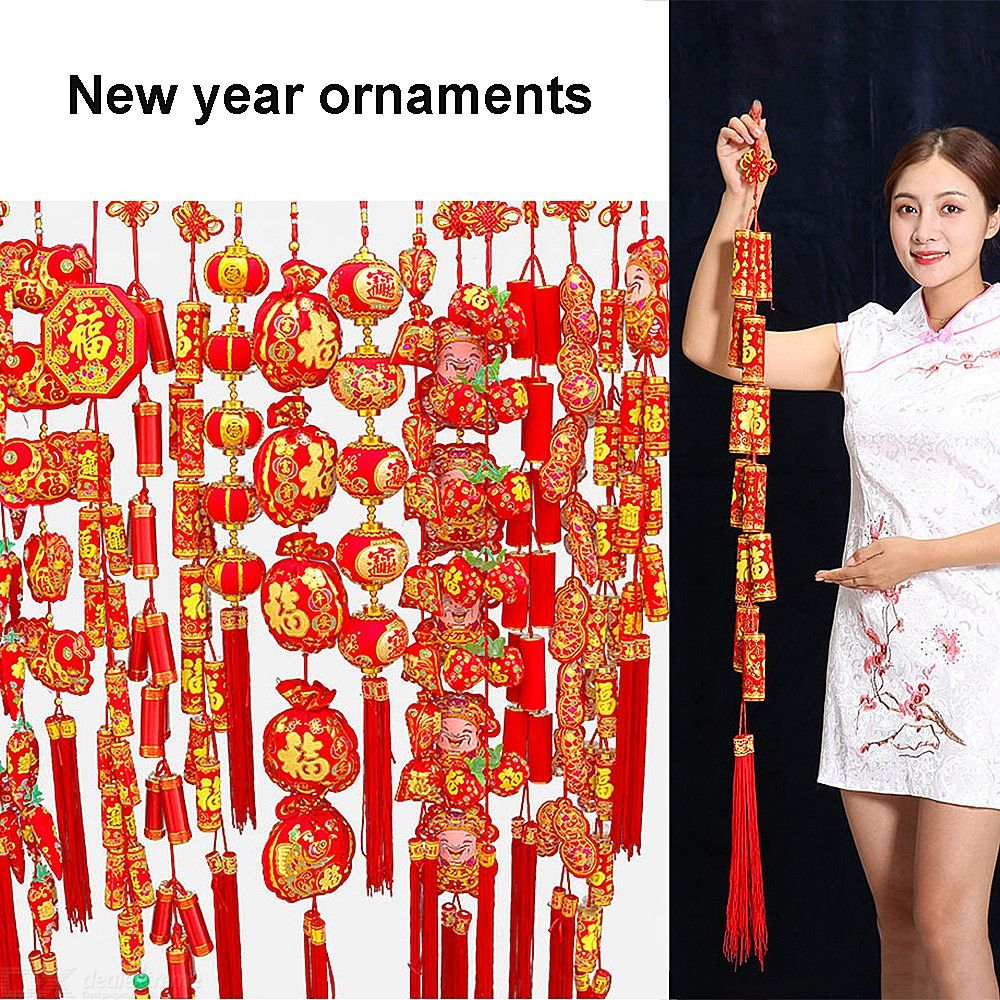 Chinese New Year Decorations Traditional Firecracker Wall Door Hangings For Spring Festivals