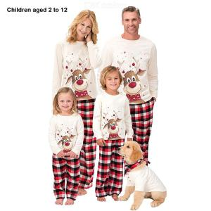 Christmas Elk Print Pattern Long Sleeve Parent-Child Pajamas Set For Kids 2-12 Years Old