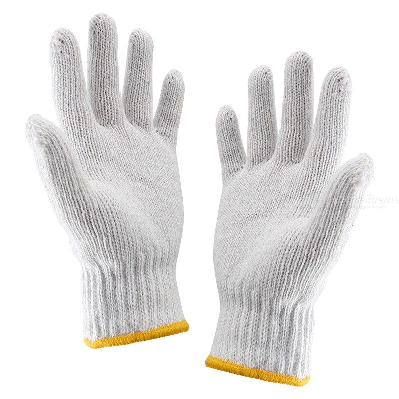3 Pair Work Gloves Cotton Heavy Duty Grip Protection White Gloves for Cutting Repair Work Safety