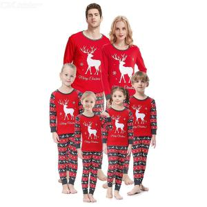 Christmas Elk Deer Print Pattern Parent-Child Pajamas Set For Mother / Father / Kids