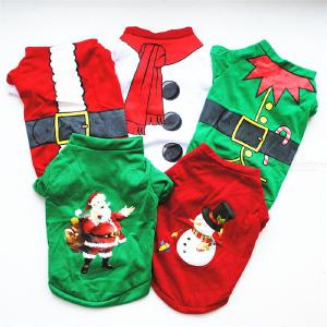 Pet Dog Christmas Shirt Puppy Holiday Costume Lovely Cotton T-Shirts For Small Dogs