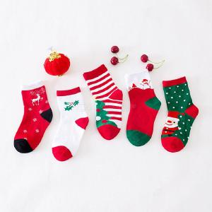 5 Pairs Kids Christmas Cotton Socks For Toddler Boys Girls Printed Socks 2-9 Y