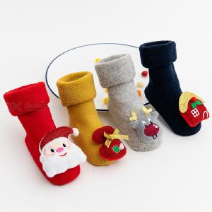1 Pair Kids Baby Christmas Cotton Socks For Toddler Boys Girls Printed Socks 0-3 Y