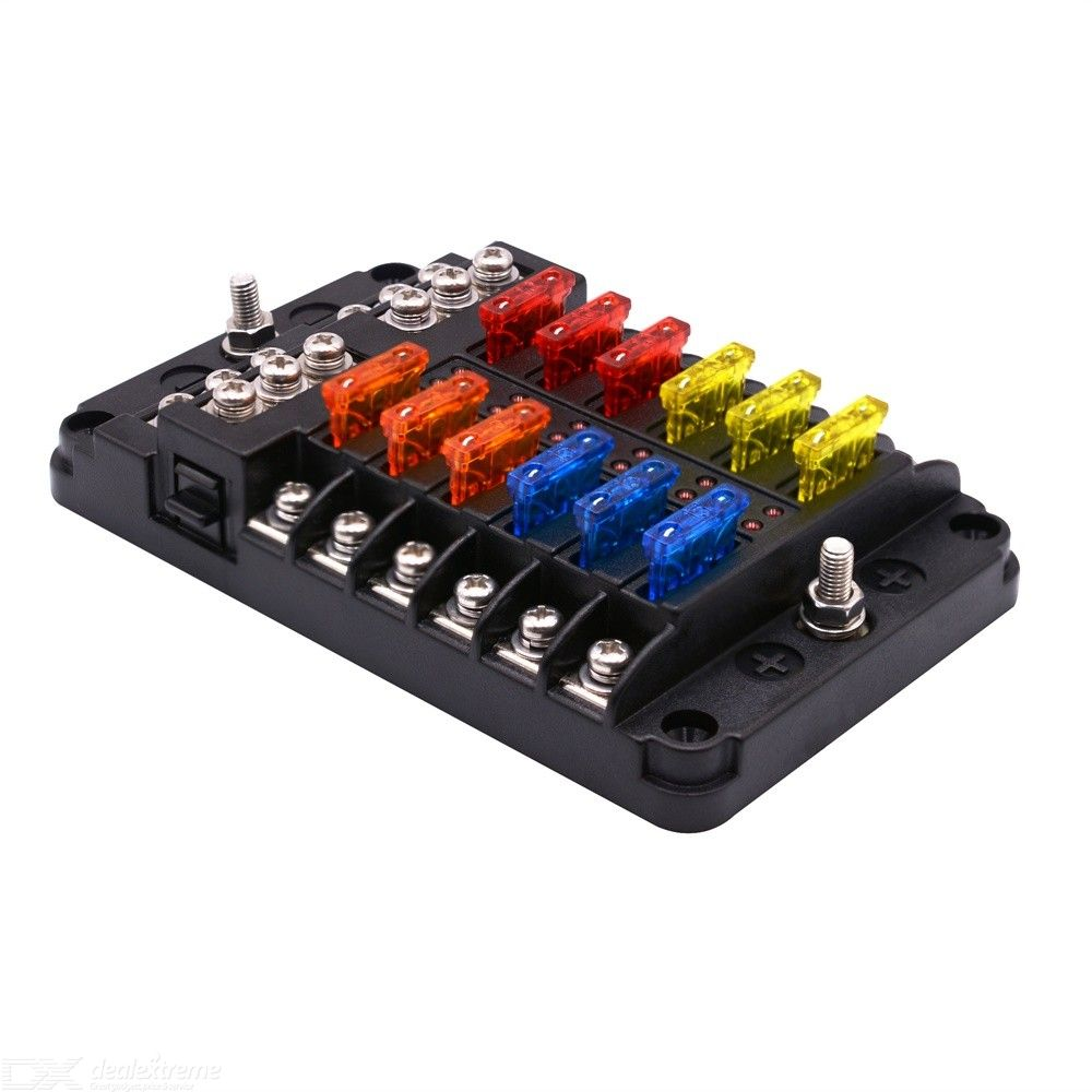 12 Way Fuse Box Holder Block, Fuse Box With LED Indicator Durable Protection Cover, Sticker