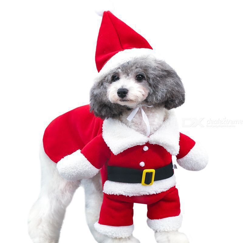 Pet Dog Santa Hoodies 3D Christmas Costumes Funny Claus Dress-up Hooie For Puppy Cats