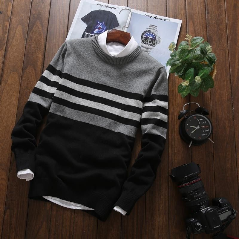 Autumn Winter Mens Casual O-neck Sweater All-match Colored Patchwork Knits