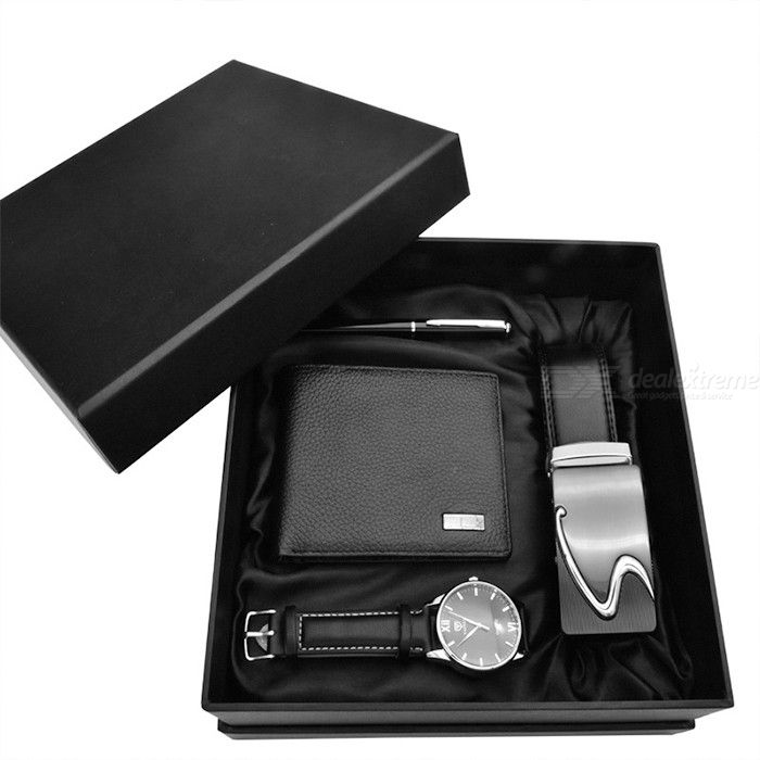 Creative Male Watch Wallet Leather Belt Set Stylish Gift Suit For Business Occasions