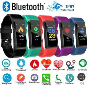 115 Plus Smart Bracelet Heart Rate Blood Pressure Monitor Waterproof Fitness Tracker for Android iOS