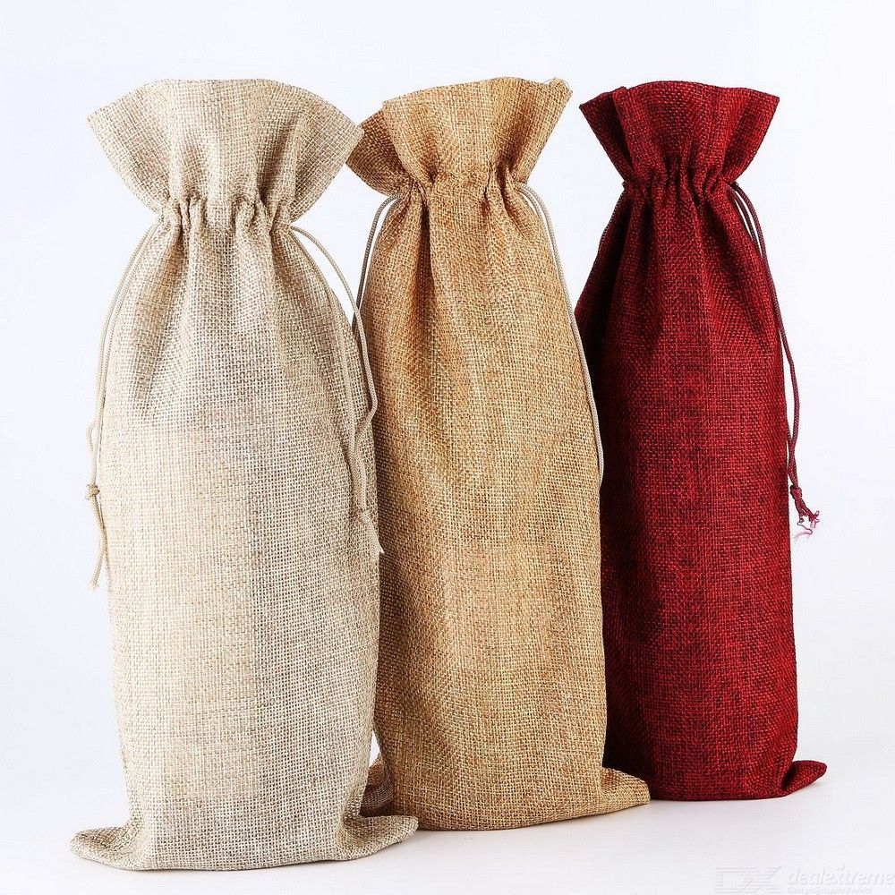 2PCS Burlap Wine Bottle Gift Bag With Drawstring For Wedding Party Favors