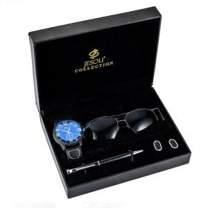Mens Gift Set Quartz Watch + Sun Glasses + Cufflinks + Pen With Exquisite Gift Box