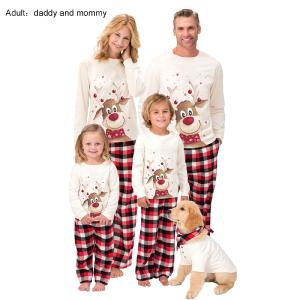 Pajamas Christmas Pjs Family Set Cotton Christmas Elk Printed Long Sleeve Nightwear Sleepwear For Daddy Mommy