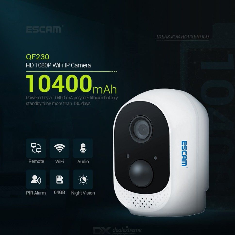 ESCAM QF230 1080P P2P IR WIFI PIR Alarm IP Camera