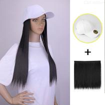 Hat-Wig-Matte-Synthetic-Long-Straight-Hair-With-Detachable-White-Baseball-Cap-For-Women